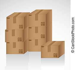 cardboard boxes stacked on one another, vector illustration