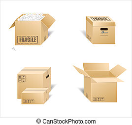 Cardboard boxes - Vector illustration of cardboard boxes