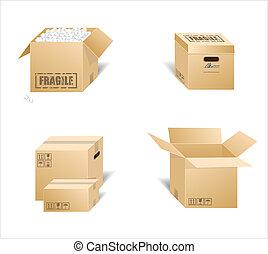 Vector illustration of cardboard boxes