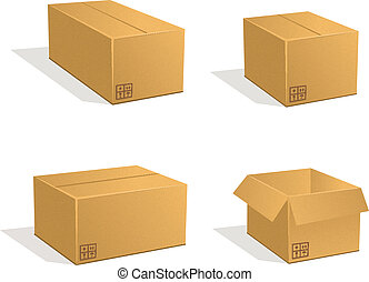 Cardboard boxes vector set. Post parcels