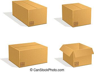 Cardboard boxes vector set. Post parcels