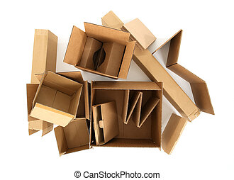 Cardboard boxes, view from top - Open empty cardboard boxes...