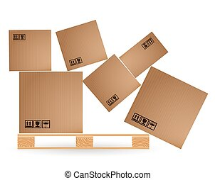 Cardboard boxes with cargo fallen and scattered on a wooden...
