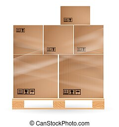 Cardboard boxes with cargo stacked on a wooden pallet. Euro...