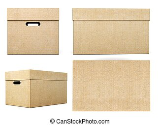 Cardboard boxes with different angles on a white background. 3d
