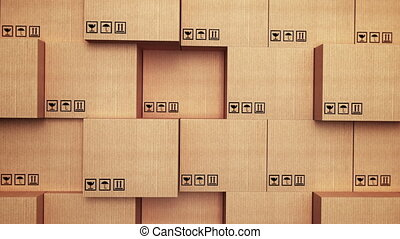 """Cardboard boxes with vertical movement"" - ""3d stack of..."