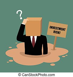 Cardboard businessman sinking in a quicksand