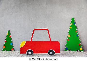 Cardboard car and Christmas tree