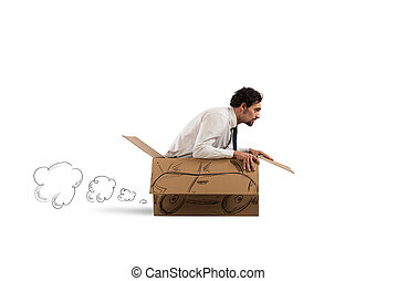 Cardboard car - Creative man drive and plays with his ...