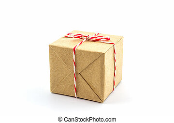 Cardboard carton wrapped with brown paper. - Cardboard...