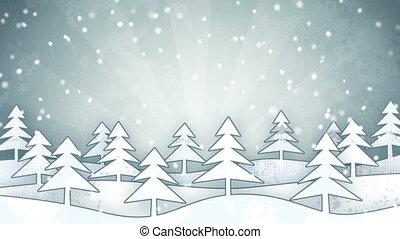cardboard Christmas forest grunge decoration loop