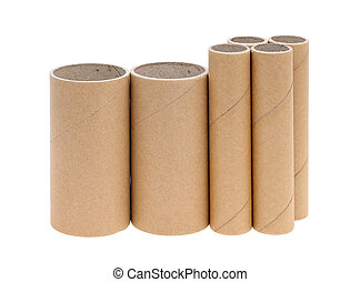 Cardboard cylinders - Row of cardboard cylinders on a white...