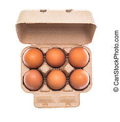 Cardboard egg box with six brown eggs isolated on white background