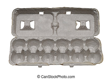 Empty grey cardboard egg carton isolated on white