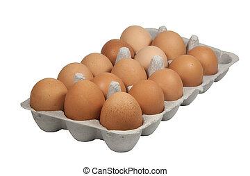 Cardboard Eggbox Filled with Freshly Laid Brown Eggs
