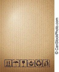 Cardboard fragile symbols