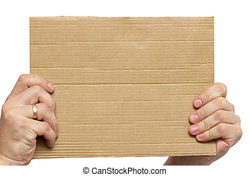 cardboard frame in the hands on a white background