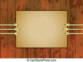 Cardboard frame on three ropes