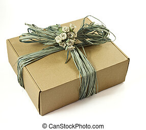 Cardboard gift box isolated on a white background