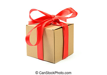 Cardboard gift box with red ribbon bow isolated