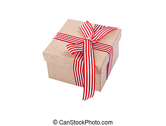 Cardboard gift box with ribbon on white background.