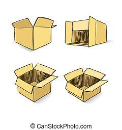 Cardboard hand-drawn vector set