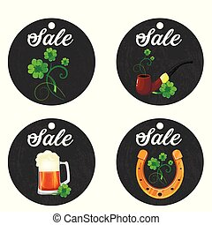 cardboard hanging price stickers for St. Patrick s Day on the white background.