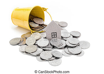 Cardboard house and Russian money on a white background