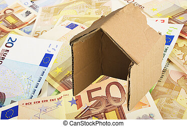 cardboard house on the money