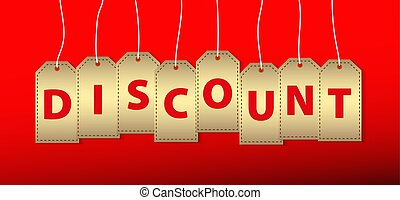 cardboard lables with word discount against red background