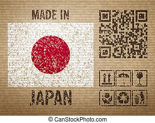 Cardboard made in Japan, textured background. Vector ...