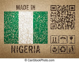 Cardboard made in Nigeria, textured background. Vector ...