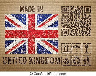 Cardboard made in UK, textured background. Vector illustration.
