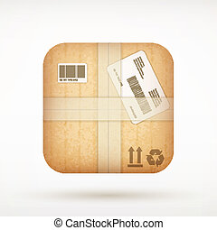 cardboard mail package app icon on rounded corner square