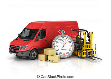 Cardboard package box with stopwatch and delivery vehicle with forklift truck on the white background. Fast delivery and loading concept.