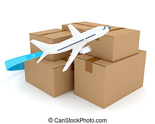 Cardboard packages with airplane over white. 3d rendered...