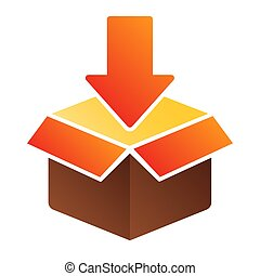 Cardboard packing flat icon. Package color icons in trendy flat style. Box with arrow gradient style design, designed for web and app. Eps 10.