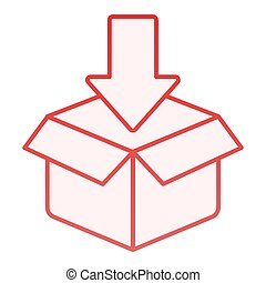 Cardboard packing flat icon. Package red icons in trendy flat style. Box with arrow gradient style design, designed for web and app. Eps 10.