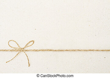 Cardboard Paper Background with Bow Rope, Carton Texture and...