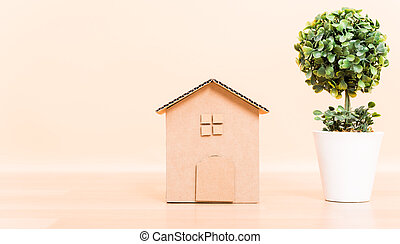 Cardboard paper model house isolated