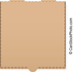 Cardboard pizza box on a white background.