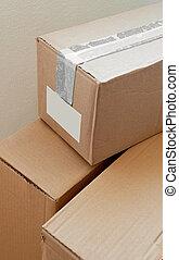 cardboard postal parcels closeup
