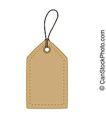 Cardboard price tag on white background