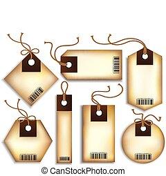 Cardboard Price Tags - Vector set of seven retro cardboard ...