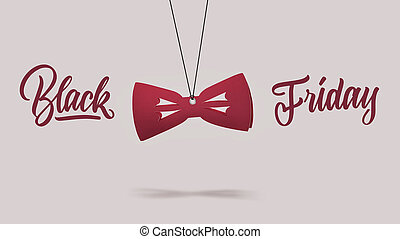 cardboard red bow tie. black Friday concept.