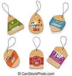 Cardboard sale labels, vintage price tags