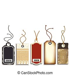 Vector collection of five cardboard sales tags, isolated on white.
