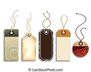 Cardboard Sales Tags - Vector set representing five ...