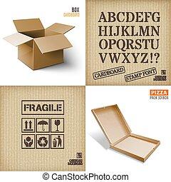 Cardboard set. Icons. texture.Pizza box.