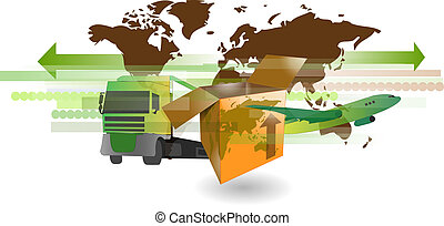 Cardboard shipping box with truck, airplane and world map...